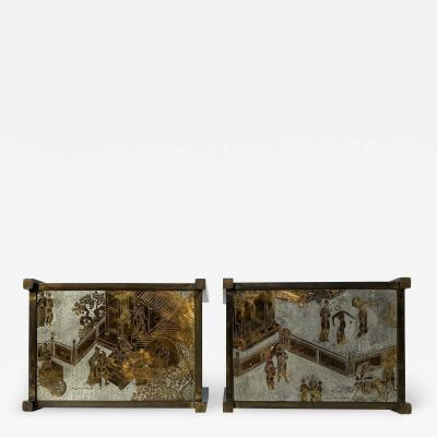 Philip and Kelvin LaVerne Pair of LaVerne TAO Chinoiserie Style Side Tables