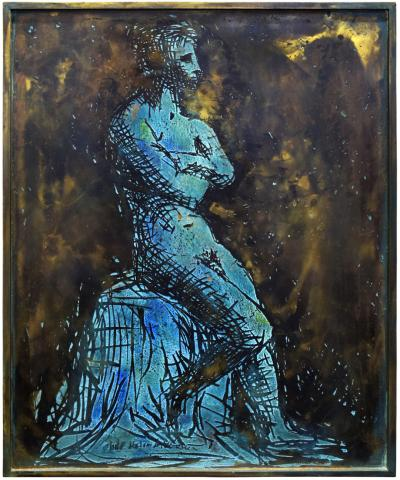 Philip and Kelvin LaVerne Philip Kelvin LaVerne Man In Contemplation Wall Sculpture 1960s Signed
