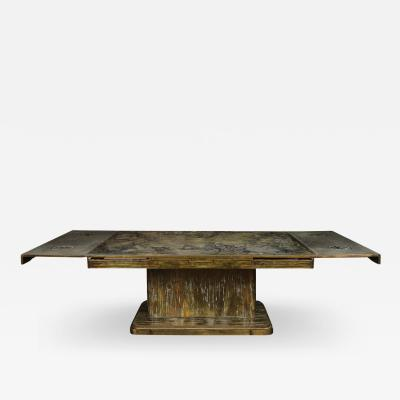 Philip and Kelvin LaVerne Philip Kelvin LaVerne Rare and Important Extension Dining Table 1960s Signed