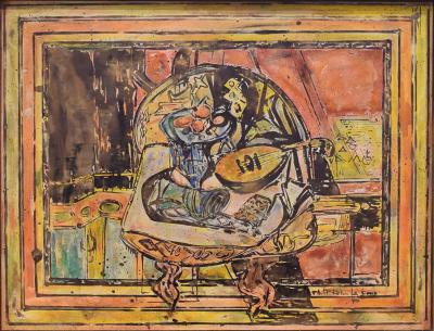 Philip and Kelvin LaVerne Philip and Kelvin LaVerne Expressionist Still Life Painting on Bronze 1960s