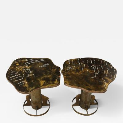 Philip and Kelvin LaVerne Rare Pair of Kissing Tables by Philip Kelvin LaVerne