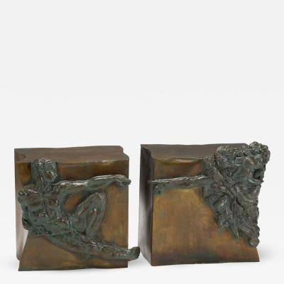 Philip and Kelvin LaVerne Rare pair of bronze side tables Creation of Man by Philipp and Kelvin Laverne