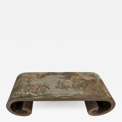 Philip and Kelvin LaVerne SCROLLED MARRIAGE WHIRL COFFEE TABLE