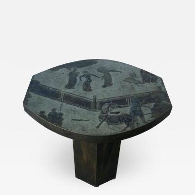 Philip and Kelvin LaVerne Signed Philip Kelvin LaVerne Etched Enameled Bronze Tao Occasional Table