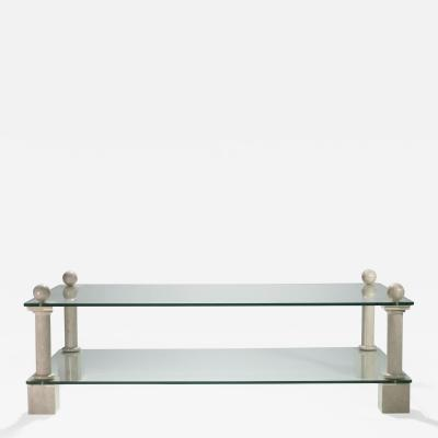 Philippe Barbier French Hollywood Regency Philippe Barbier travertine glass coffee table 1970s