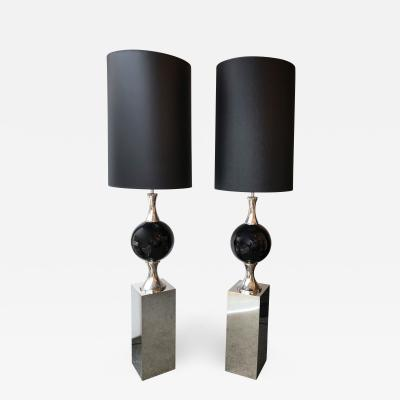 Philippe Barbier Pair of Chrome Floor Lamps by Philippe Barbier France 1970s