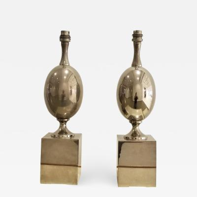 Philippe Barbier Pair of Nickel Plated Brass Table Lamps by Philippe Barbier France 1970s