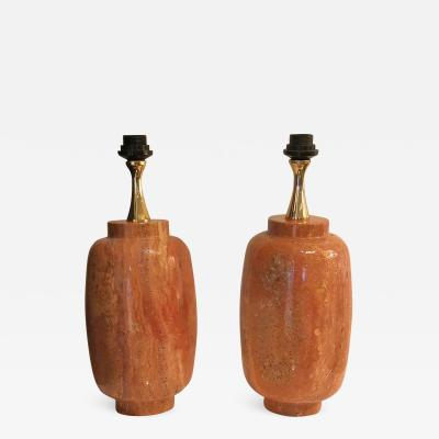 Philippe Barbier Rare pair of red travertine by Maison Barbier France 1970s