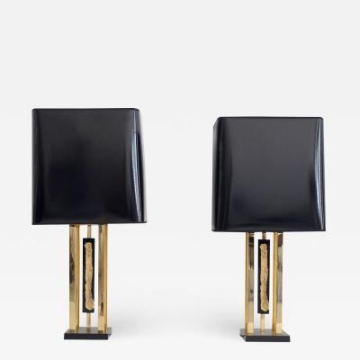 Philippe Cheverny Pair of Philippe Cheverny Gold Table Lamps with Black Shades