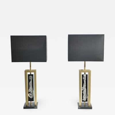Philippe Cheverny Pair of large Philippe Cheverny brass and nickel table lamps 1970s