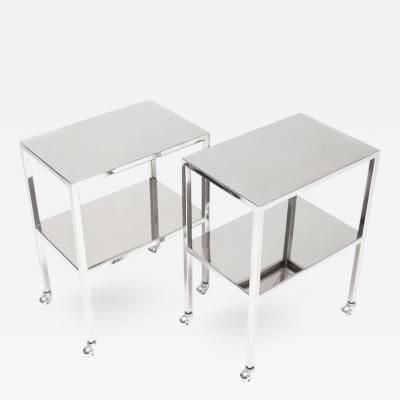 Philippe Starck Pair of Chromed Steel Side Tables Philippe Starck