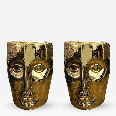 Philippe Starck Pair of Lacquered Gold Bronze Face Stools or Side Tables