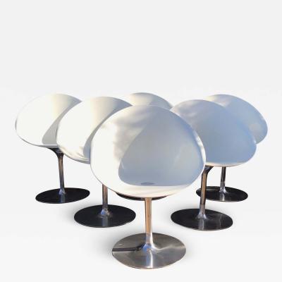 Philippe Starck Philippe Starck for Kartell Six Swivel Eros Dining Chairs White Chrome ITALY