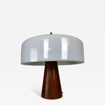 Phillip Enfield One Off Walnut and Milk Glass Desk Lamp Designed by Phillip Enfield