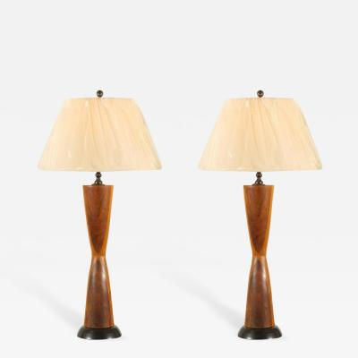 Phillip Lloyd Powell Monumental Pair of Walnut Hourglass Lamps in the Style of Phillip Lloyd Powell