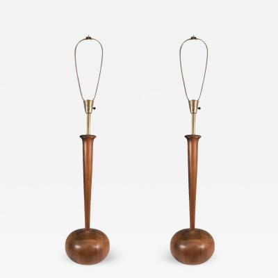 Phillip Lloyd Powell Pair of Phillip Lloyd Powell Modernist Wood Lamps