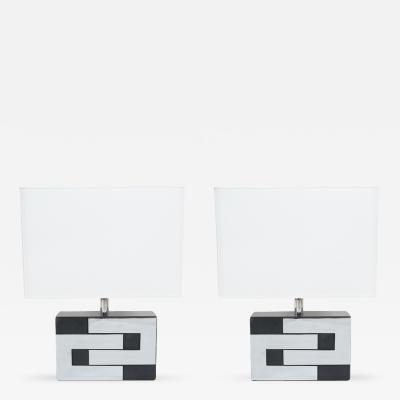 Phillipe Jean Pair of Chromed Table Lamps