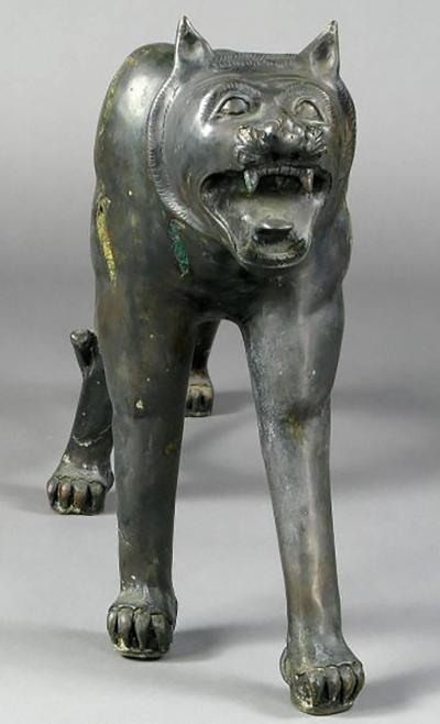 Phyllis Morris Pair of Phyllis Morris Lifesize Bronze Jungle Cat Sculptures USA c 1970s