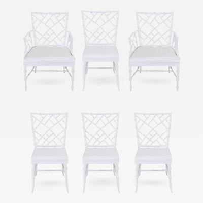 Phyllis Morris Six Phyllis Morris Cast Aluminum White Lacquer Chinese  Chippendale Dining Chairs