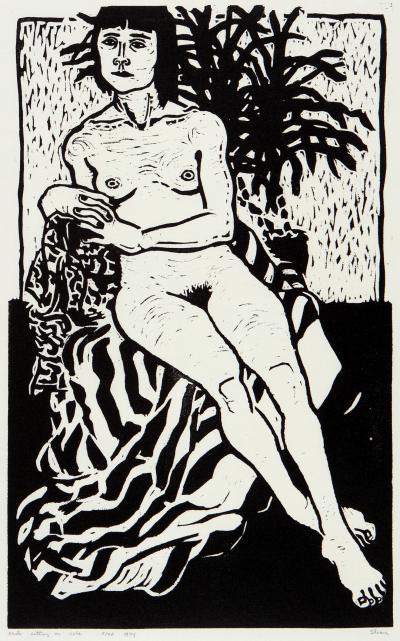 Phyllis Sloane Nude Sitting on Robe
