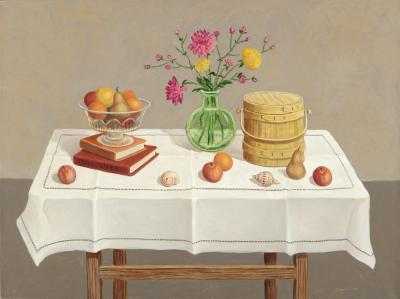 Phyllis Sloane Still Life With Shaker Box