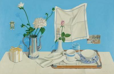 Phyllis Sloane Still Life with One Rose on Blue