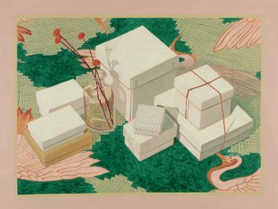 Phyllis Sloane Untitled Boxes Bottle on Pink Green
