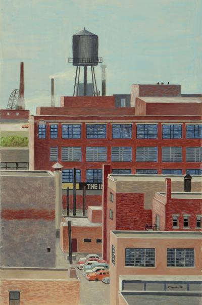 Phyllis Sloane Untitled Parked Cars and Water Tower