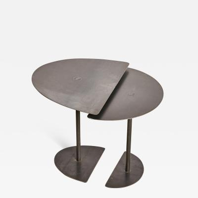 Pia Chevalier Pair of Demi Lunes Side Tables Signed by Pia Chevalier
