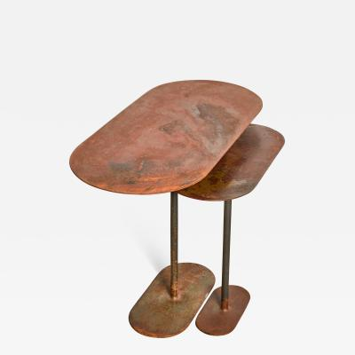 Pia Chevalier Pair of Oxidized Ellipses Table Signed by Pia Chevalier