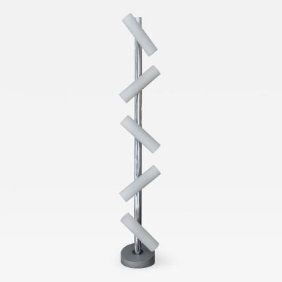 Pia Guidetti Crippa Adjustable Standing Lamp in Chromed Metal and Milk Glass by Pia Guidetti Cripa