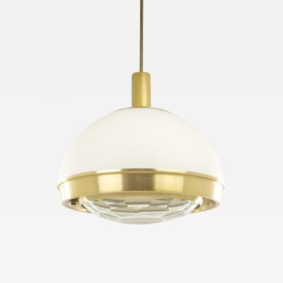 Pia Guidetti Crippa Brass pendant with faceted glass by Pia Guidetti Crippa for Lumi 1960s