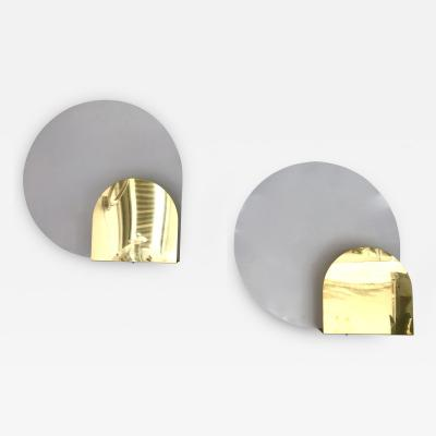 Pia Guidetti Crippa Pair of Sconces metal and Brass by Pia Guidetti Crippa for Lumi Italy 1980s
