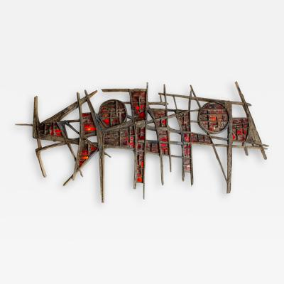 Pia Manu Pia Manu Brutalist Illuminated Wall Sculpture in Steel Red Stained Glass 1970s