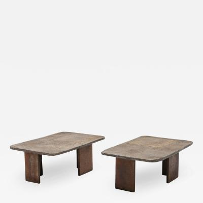 Pia Manu Pia Manu Brutalist Pair of Side Tables 1970s
