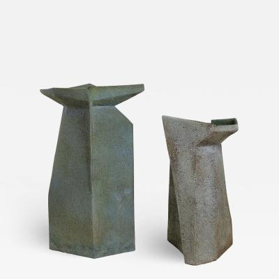 Pia Manu Pia Manu Ceramic Vases Brutalist Faceted Design Turquoise Glaze Monumental Scale