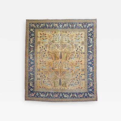 Pictorial Animal Antique Persian Tabriz Rug rug no j1458