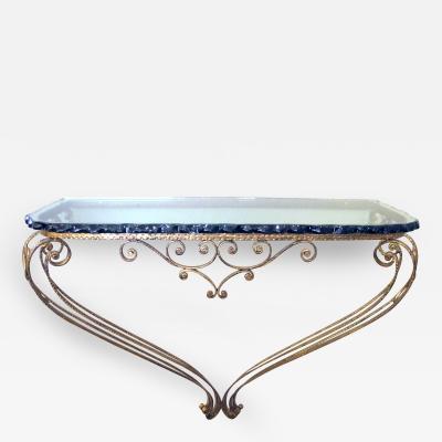 Pier Luigi Colli A Lyrical Italian Hand Forged Gilt Iron Console Table Style of Pier Luigi Colli