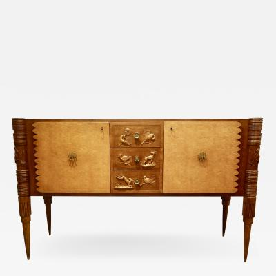 Pier Luigi Colli An Italian Carved Two Tone Wood Sideboard or Credenza by Pier Luigi Colli