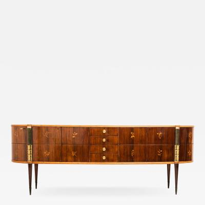 Pier Luigi Colli Italian Midcentury Oval Shaped Outstanding Sideboard by Pier Luigi Colli