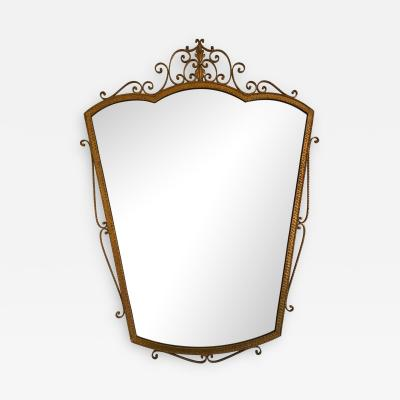 Pier Luigi Colli Mirror Wrought Iron Gold Leaf by Pier Luigi Colli Italy 1950s