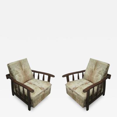 Pier Luigi Colli Pair of Italian Mid Century Modern Craftsman Lounge Chairs by Pierluigi Colli