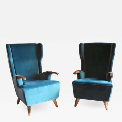 Pier Luigi Colli Pier Luigi Colli Midcentury Green Velvet Berg re Armchairs with Brass Feet Pair
