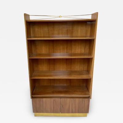 Pierluigi Spadolini Pierluigi Spadolini Mid Century Modern Walnut Libraries with Brass Details Pair