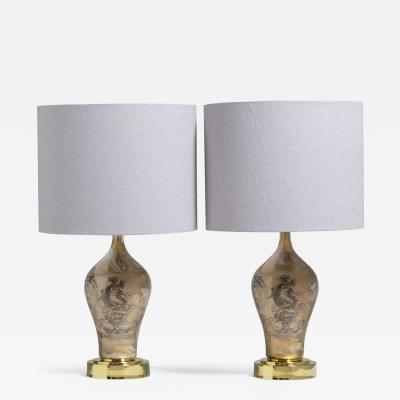 Piero Fornasetti A Pair of Fornasetti Style Eglomise Glass Table Lamps 1970s