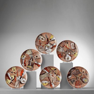 Piero Fornasetti A Set of Six Piero Fornasetti Strumenti Musicali Plates 1960s