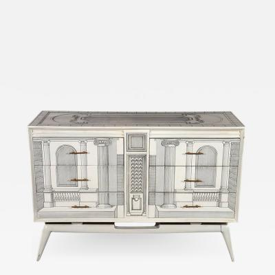 Piero Fornasetti Architectural Hand Painted Commode in the Fornasetti Manner