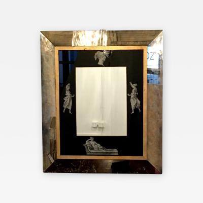 Piero Fornasetti Brass Black Glass with Grecian Theme Transfer Antiques Mirror