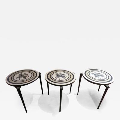 Piero Fornasetti Charming Set of 3 Piero Fornasetti Style Stack Nesting Table Mid Century Modern