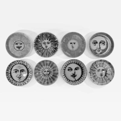Piero Fornasetti Complete Set of Eight Soli e Lune Drinks Coasters by Fornasetti Italy